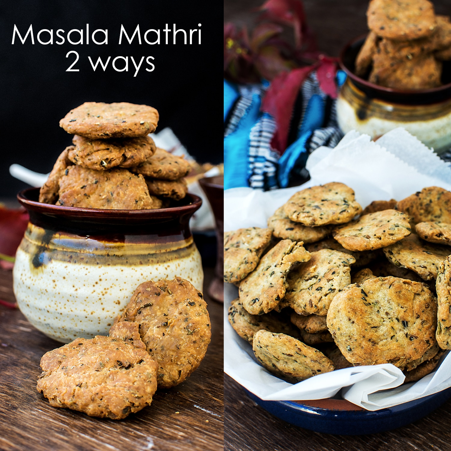Masala Mathri - 2 Ways | Baked Masala Mathri Recipe Video | Spicy Indian Crackers | mygingergarlickitchen.com/ @anupama_dreams