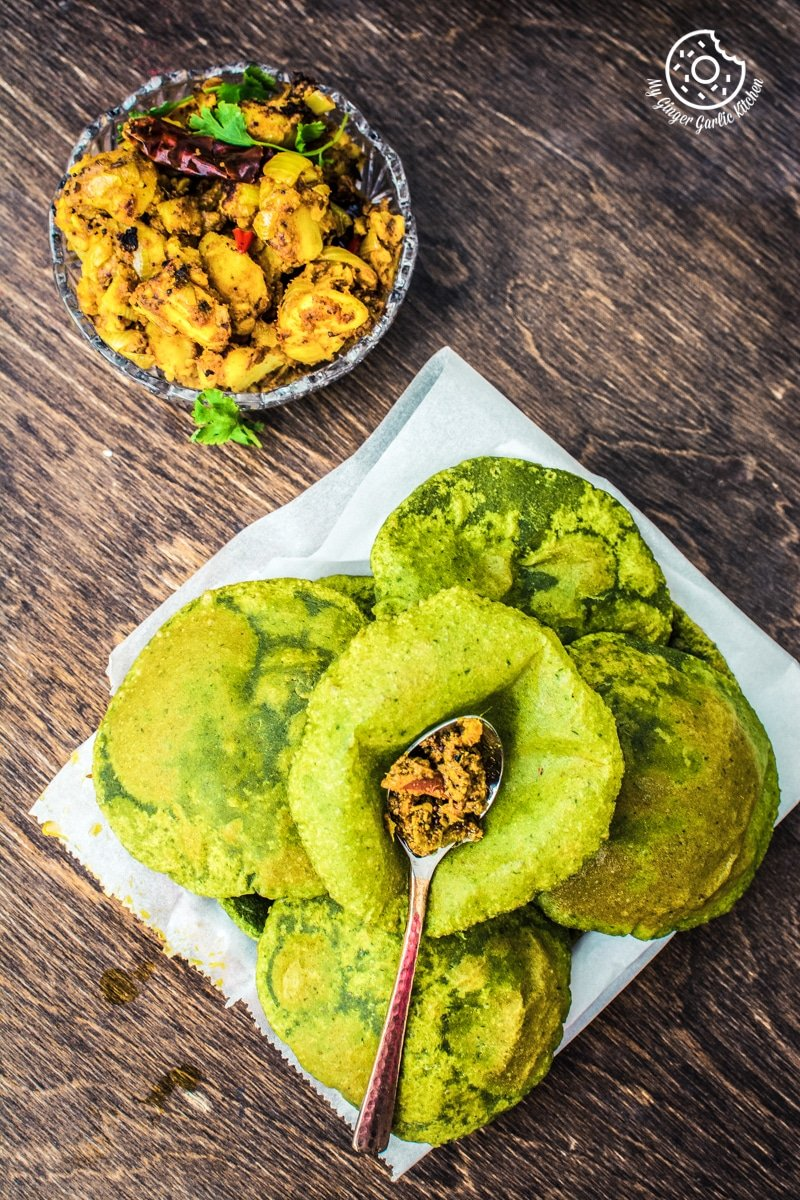 Palak Ki Puri Recipe Video | How To Make Palak Poori | Spinach Puri | mygingergarlickitchen.com/ @anupama_dreams