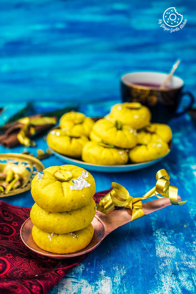 Kesari Mawa Peda   Indian Milk Fudge   Instant Khoya Peda Recipe Video   mygingergarlickitchen.com/ @anupama_dreams