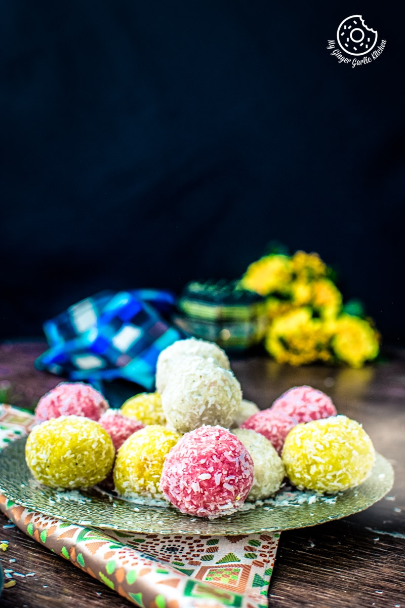 Image of Instant Coconut Ladoo Recipe (Rose, Saffron, Cardamom)