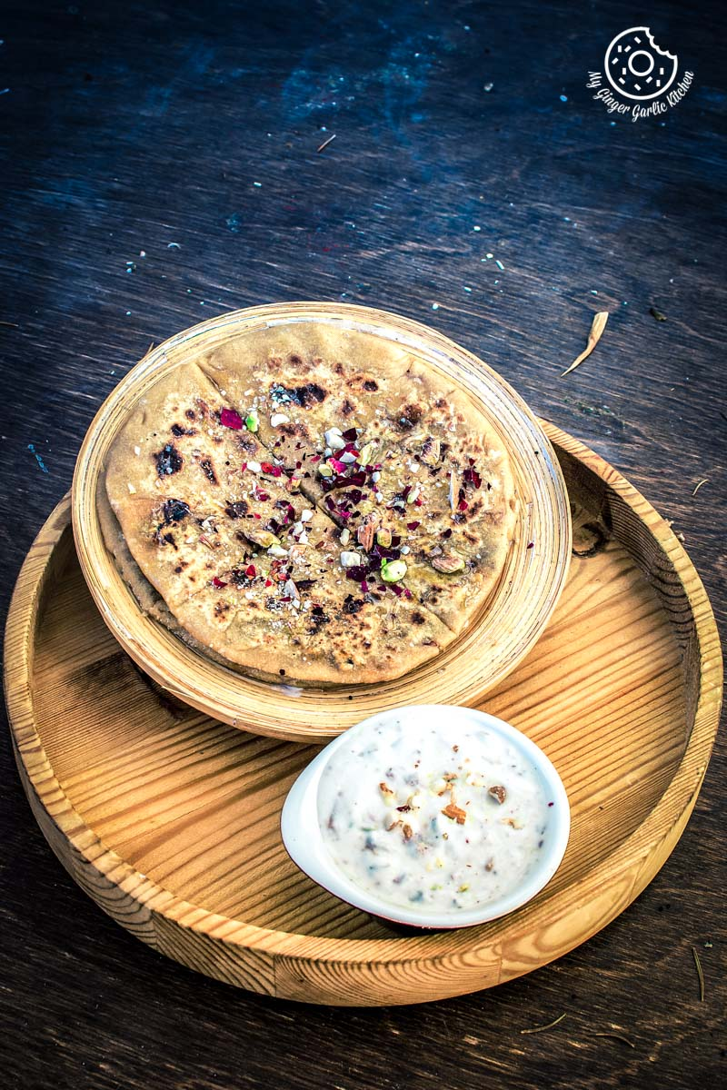 How to Make Gulkand Dessert Paratha With Gulkand Raita Recipe | | mygingergarlickitchen.com/ @anupama_dreams
