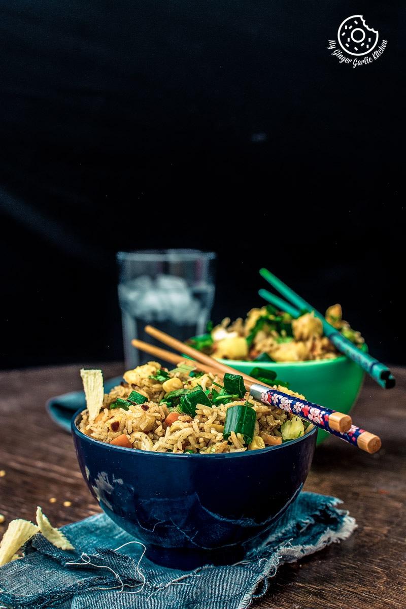 How to make Thai Pineapple Fried Rice | Vegan Recipe | mygingergarlickitchen.com/ @anupama_dreams