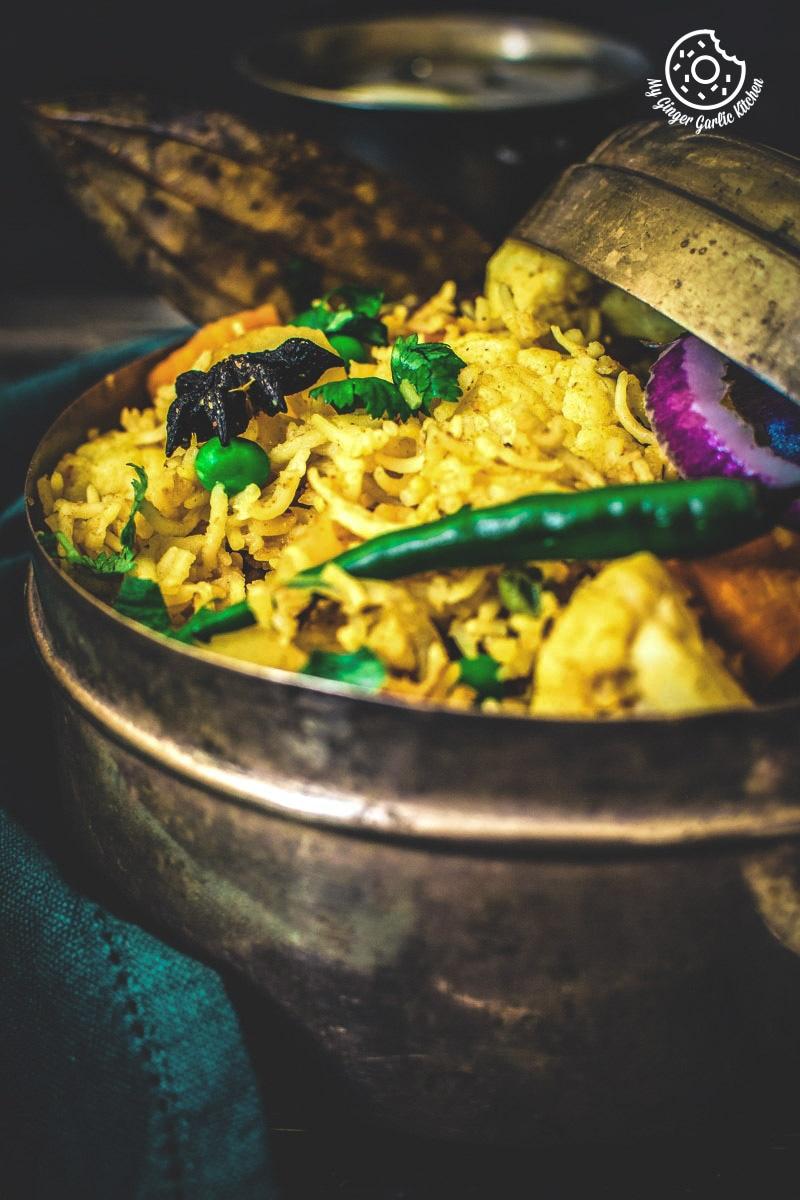 Vegetable Tahiri Recipe | Easy To Make Aromatic One Pot Veg Tehri | Veg Taheri | mygingergarlickitchen.com/ @anupama_dreams
