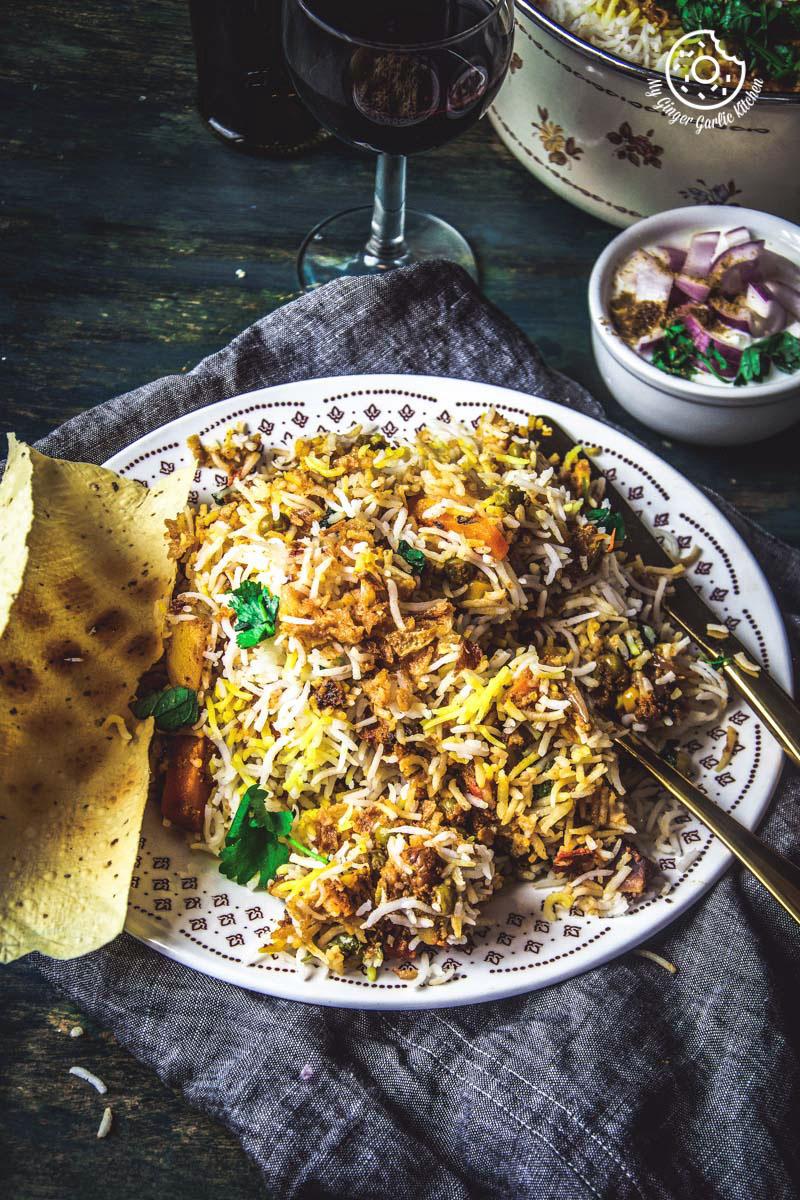 Veg Biryani Recipe | Restaurant Style Hyderabadi Veg Dum Biryani Recipe | mygingergarlickitchen.com/ @anupama_dreams