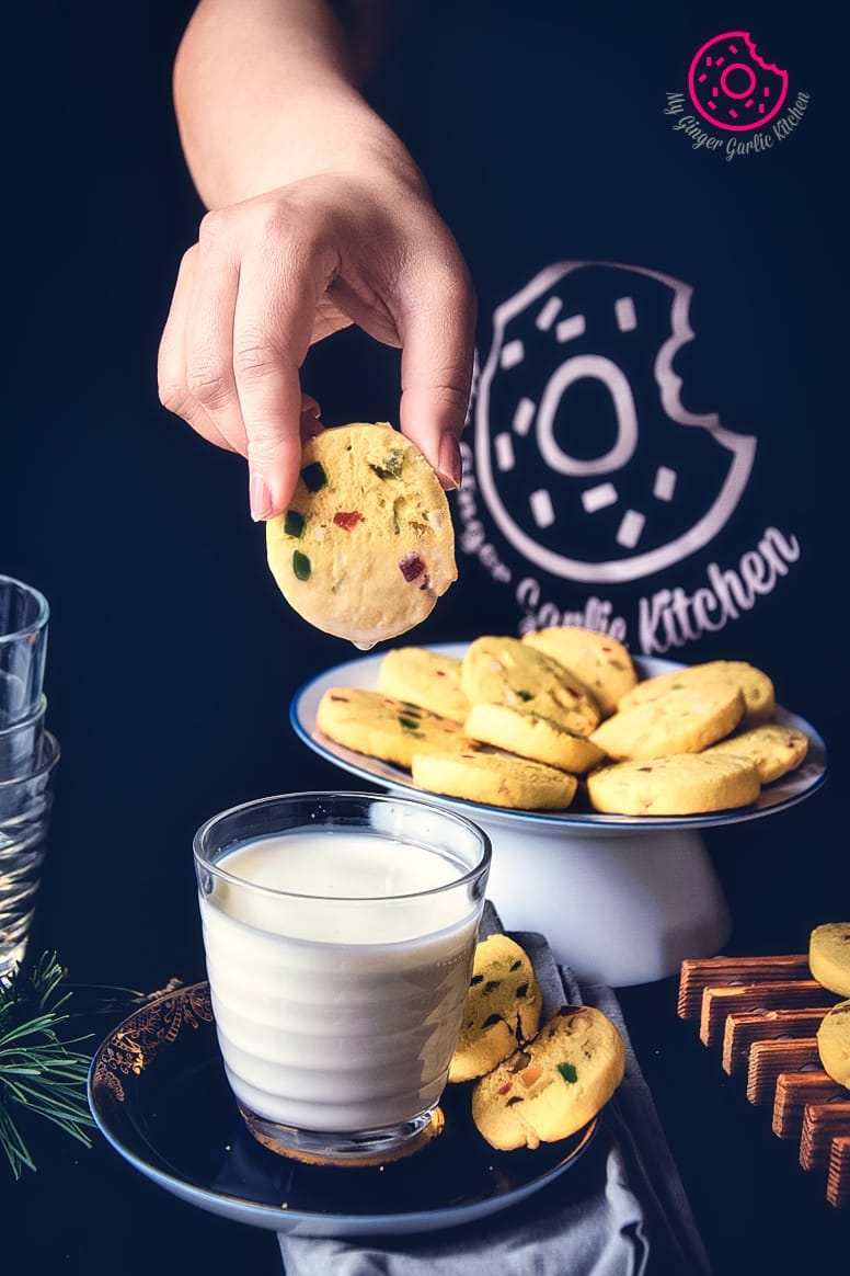 Image of Karachi Biscuit - Eggless Tutti Frutti Cookies Recipe