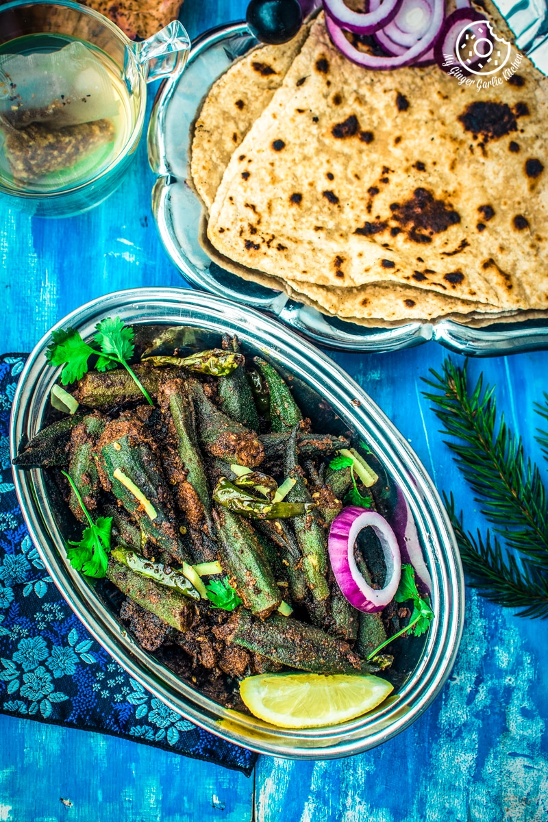 Image - how to make bharwa bhindi recipe stuffed okra masala recipe video anupama paliwal my ginger garlic kitchen 8