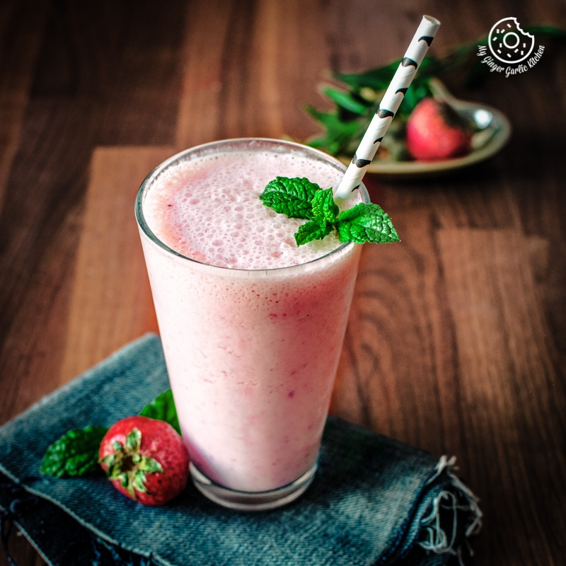 Strawberry Lassi Recipe | Strawberry Yogurt Smoothie | mygingergarlickitchen.com/ @anupama_dreams
