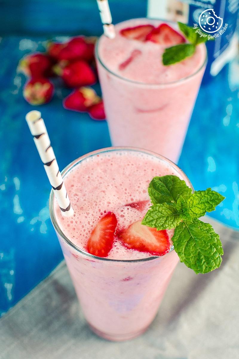 Strawberry Lassi Recipe   Strawberry Yogurt Smoothie   mygingergarlickitchen.com/ @anupama_dreams