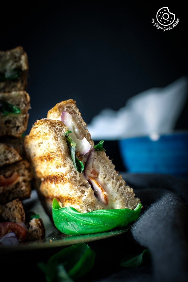 Grilled Tomato Mozzarella Sandwich Recipe | mygingergarlickitchen.com/ @anupama_dreams