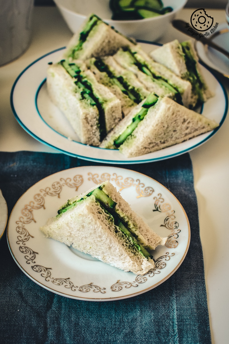 Indian Cucumber Chutney Sandwich Recipe - Tea Time Sandwich | | mygingergarlickitchen.com/ @anupama_dreams