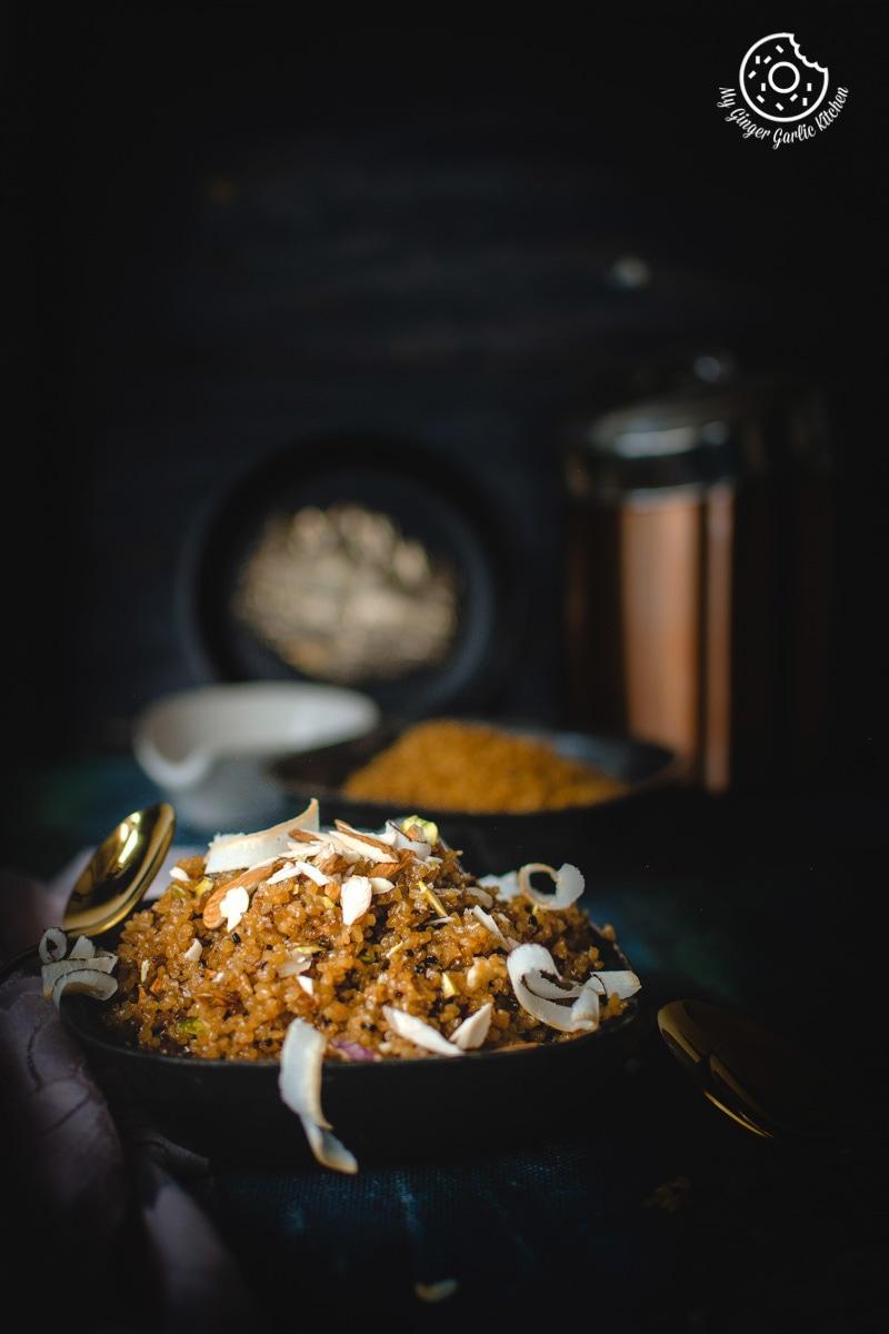 Lapsi Recipe | Sweet Dalia | Cracked Wheat Dessert Recipe | mygingergarlickitchen.com/ @anupama_dreams