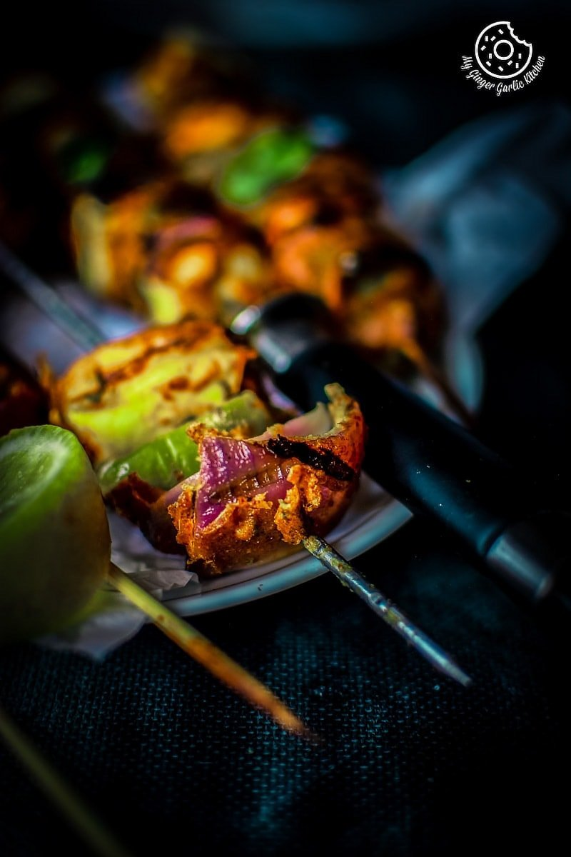 a closeup shot of paneer tikka