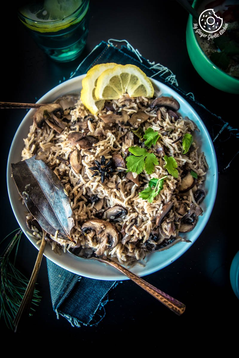 Mushroom Pulao Recipe (Pressure Cooker - Instant Pot) | mygingergarlickitchen.com/ @anupama_dreams