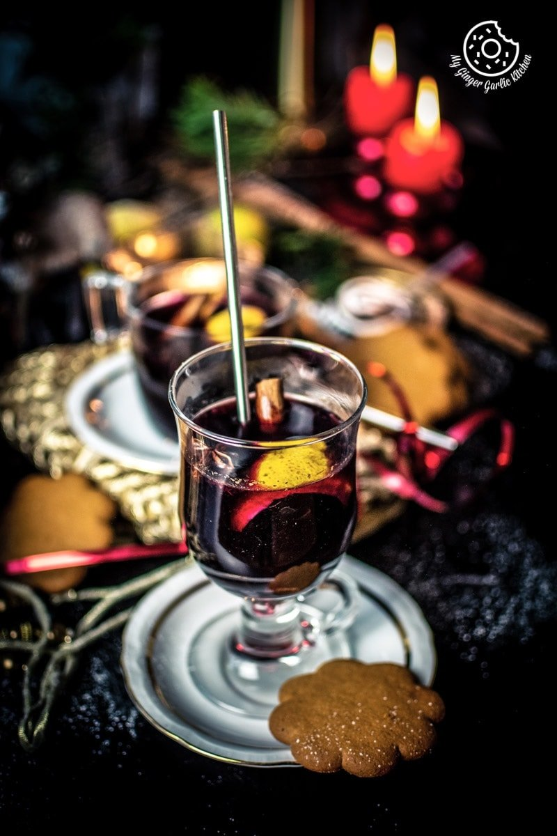 mulled wine in a glasses