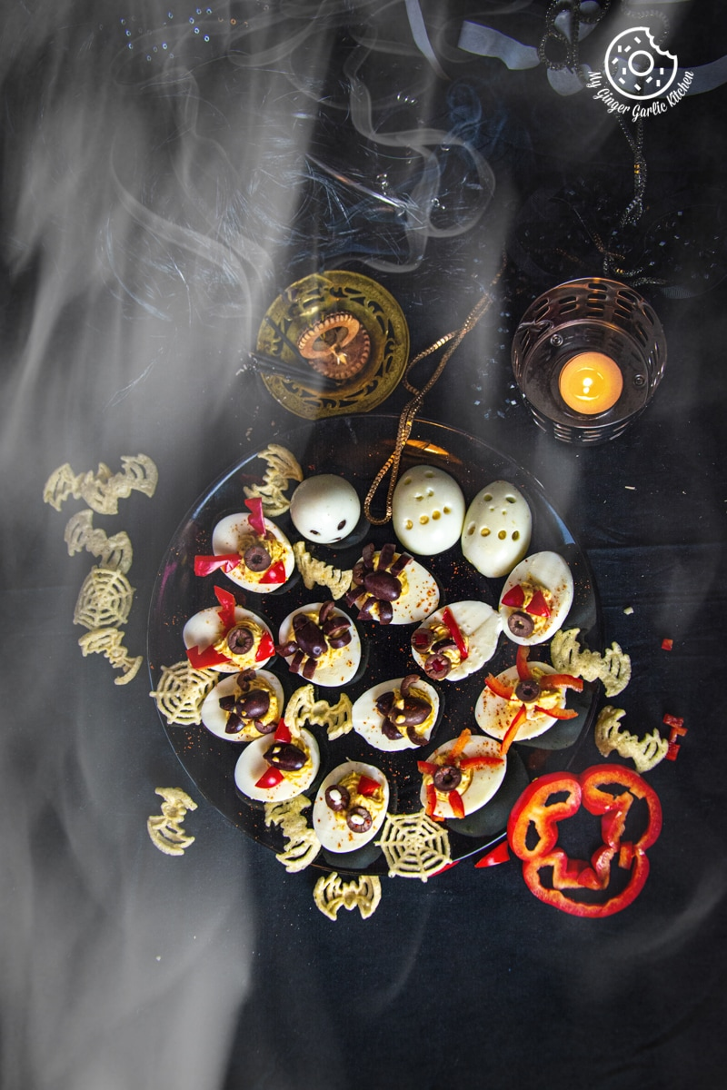 Image of 7 Halloween Deviled Egg Ideas + Halloween Ghost Egg