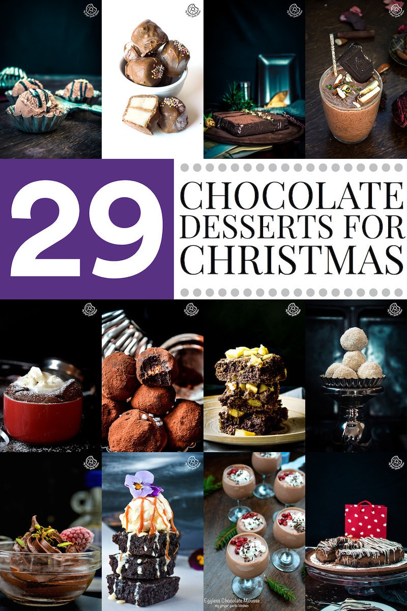 christmas chocolate desserts collage
