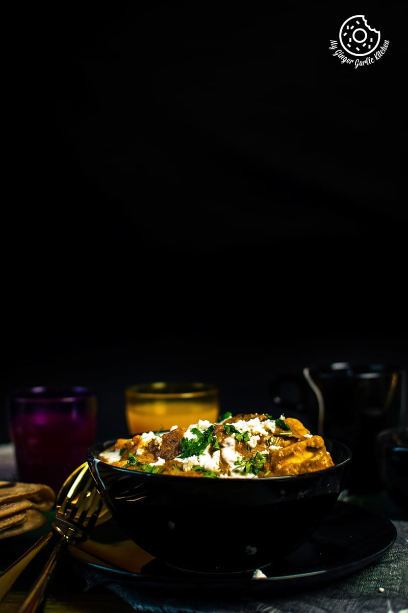 paneer lababdar curry served in a bowl