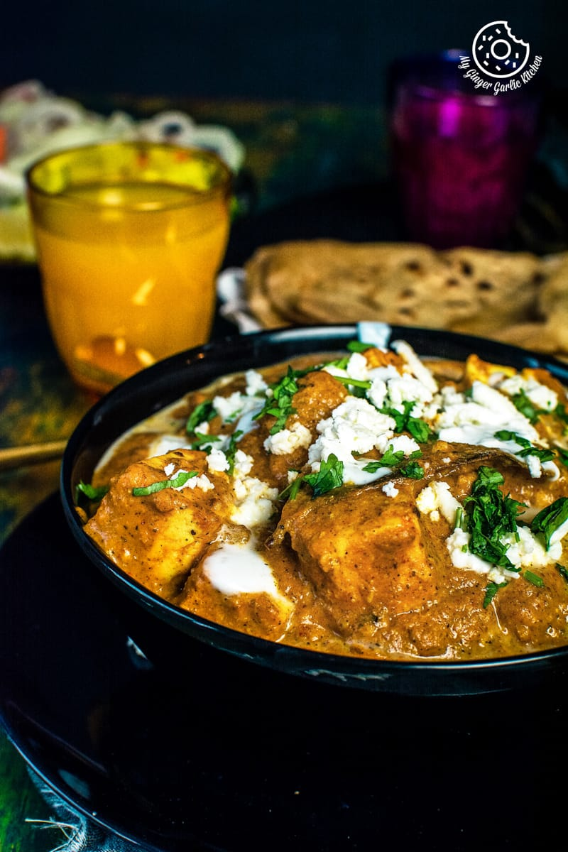 a close up shot of paneer lababdar curry