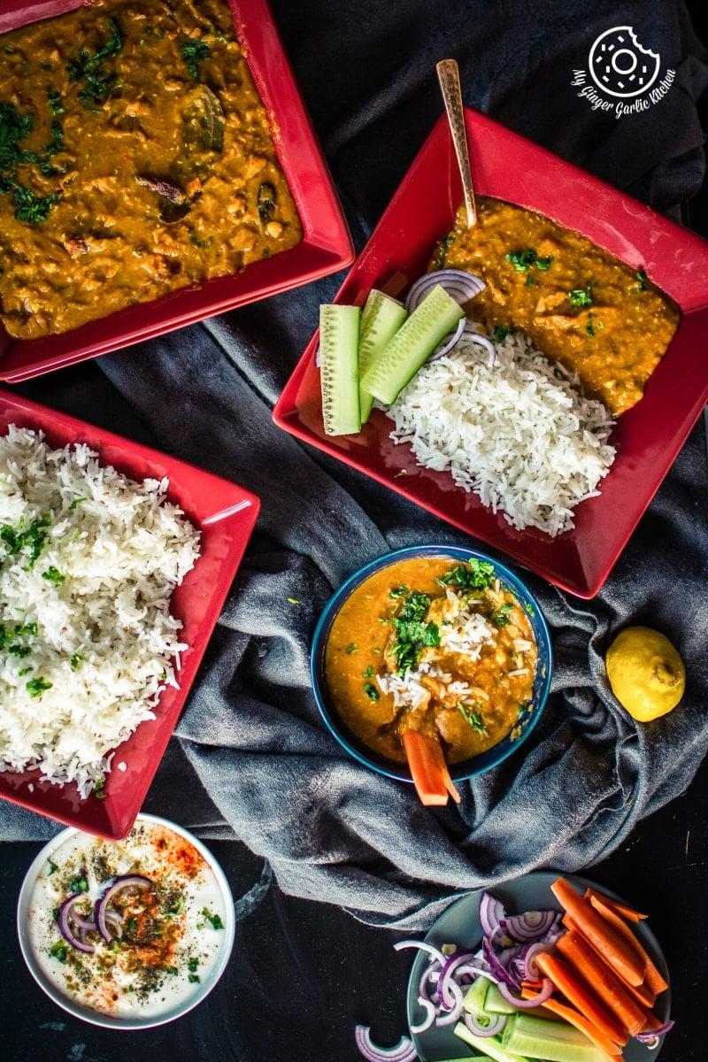 overhead shot of masoor dal with rice