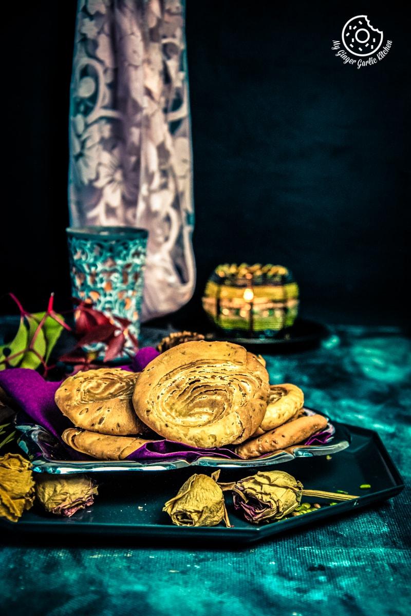 verki puri served in a dark grey plate