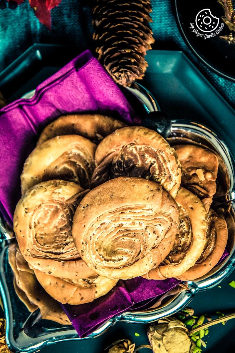 overhead closeup shot of verki puri served in a plate