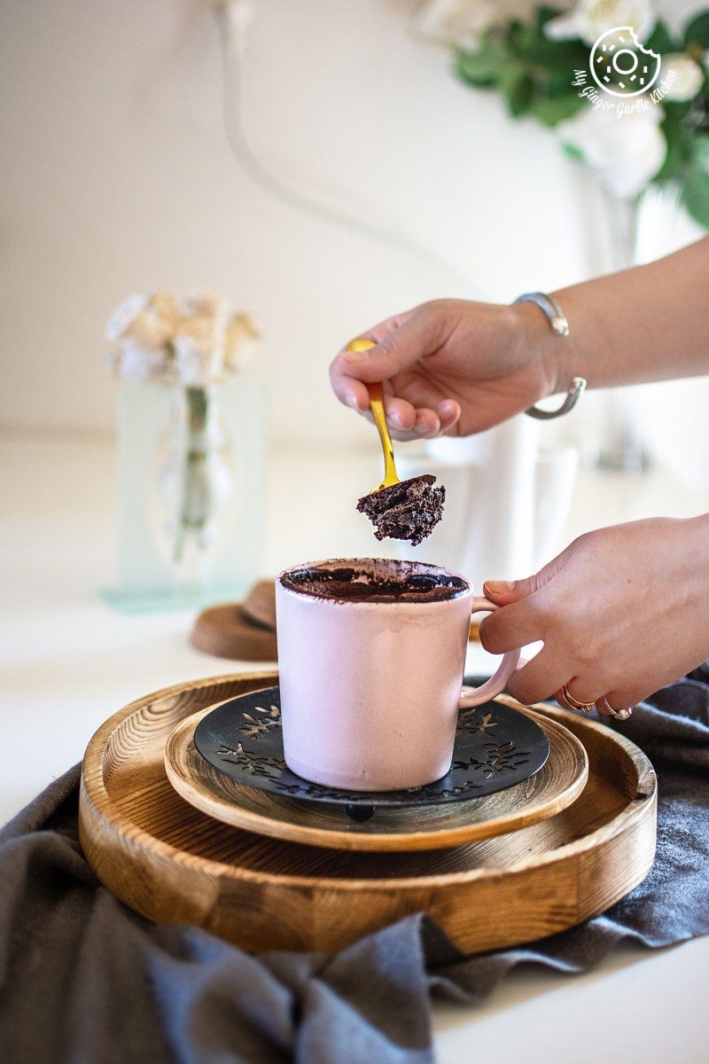 oreo mug cake in a pink mug