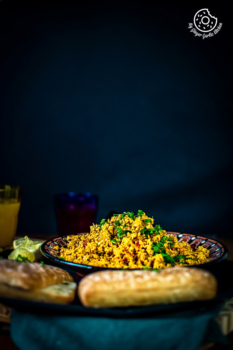 egg bhurji recipe served in a brown plate