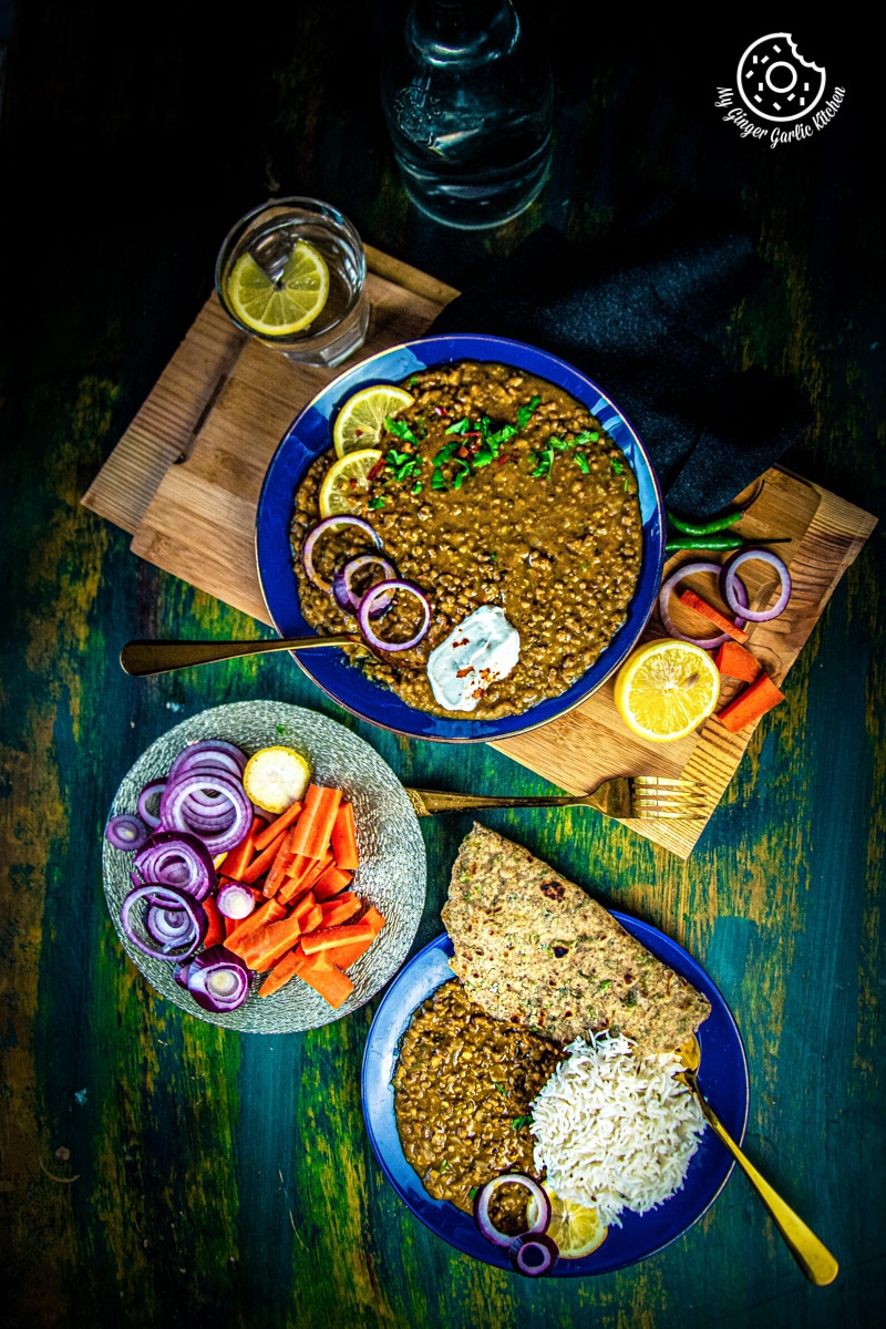 Green lentils served in a blue plate