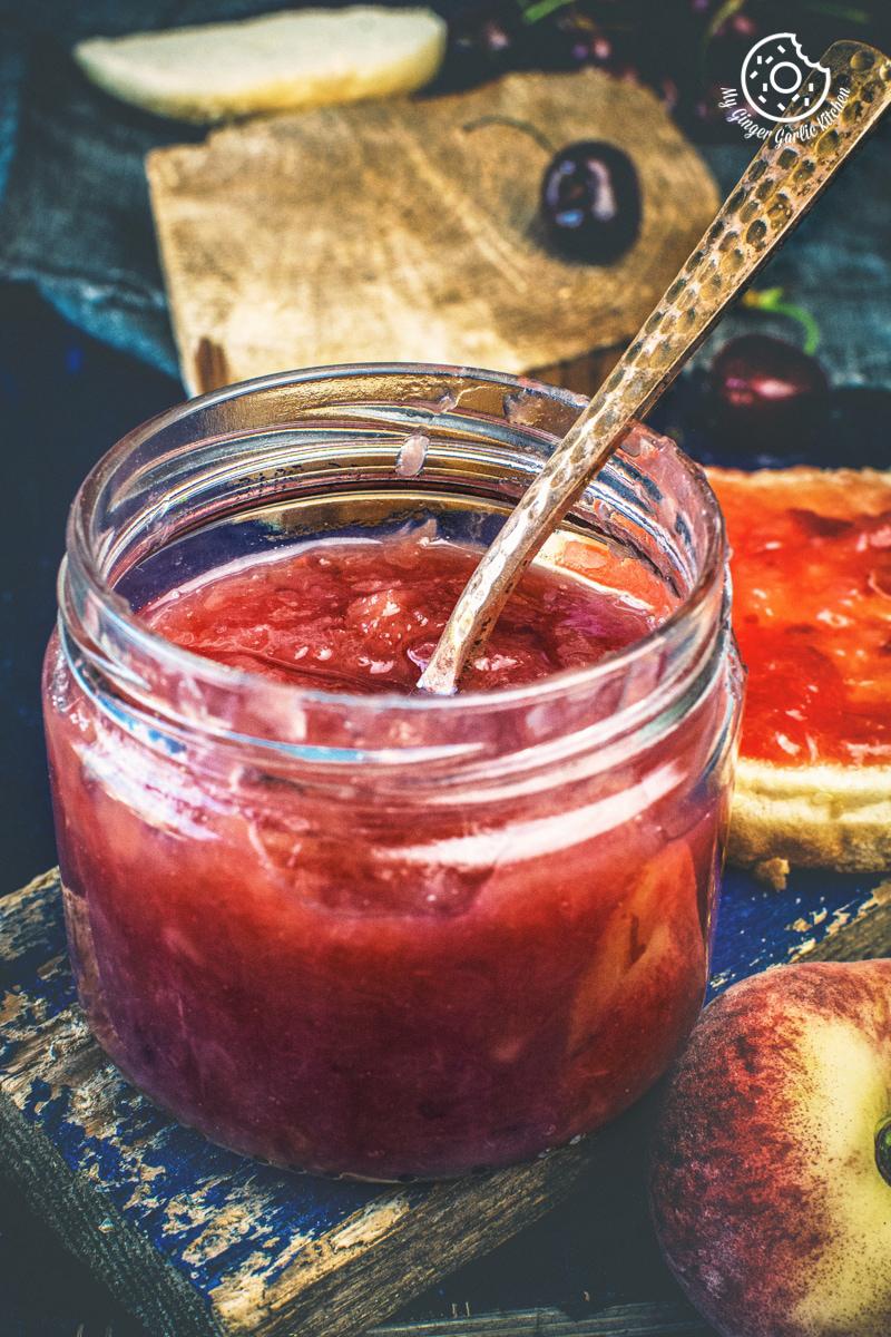 instant pot peach jam in a glass jar