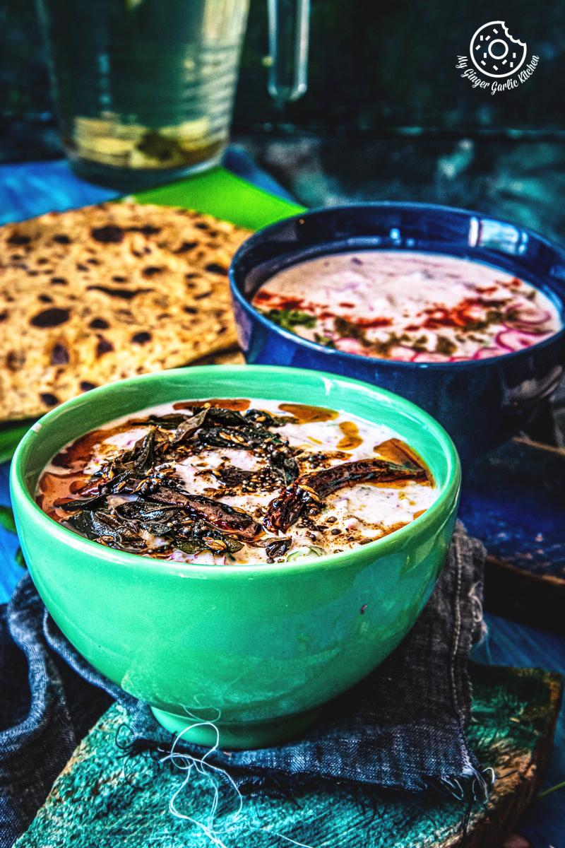tadka mooli raita serves in green a bowl