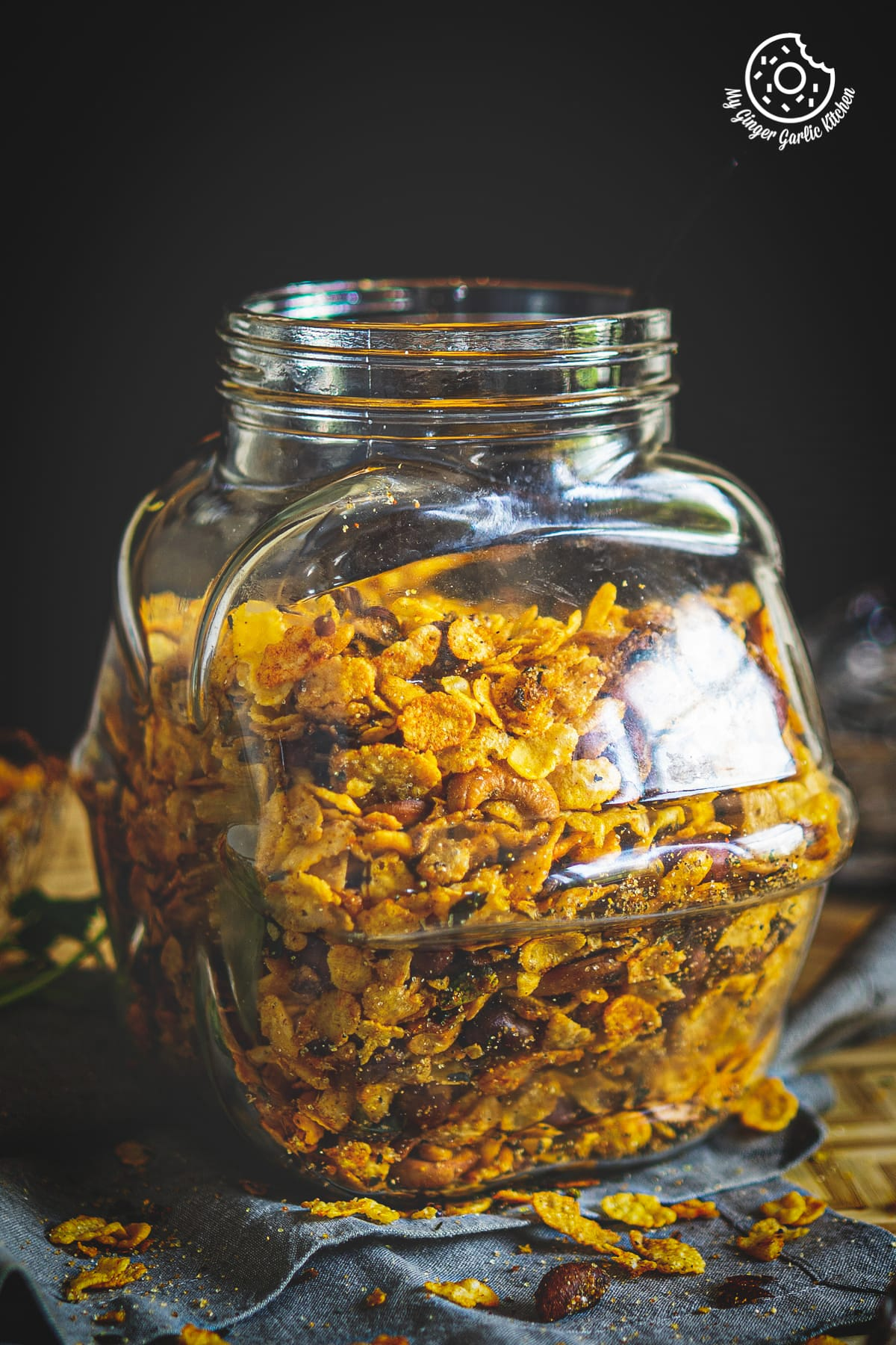 a jar of roasted cornflakes chivda namkeen