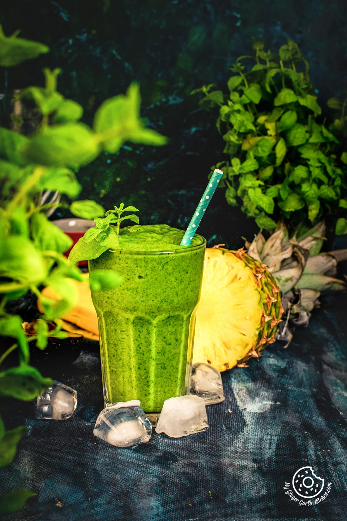 detox green smoothie in a tall glass