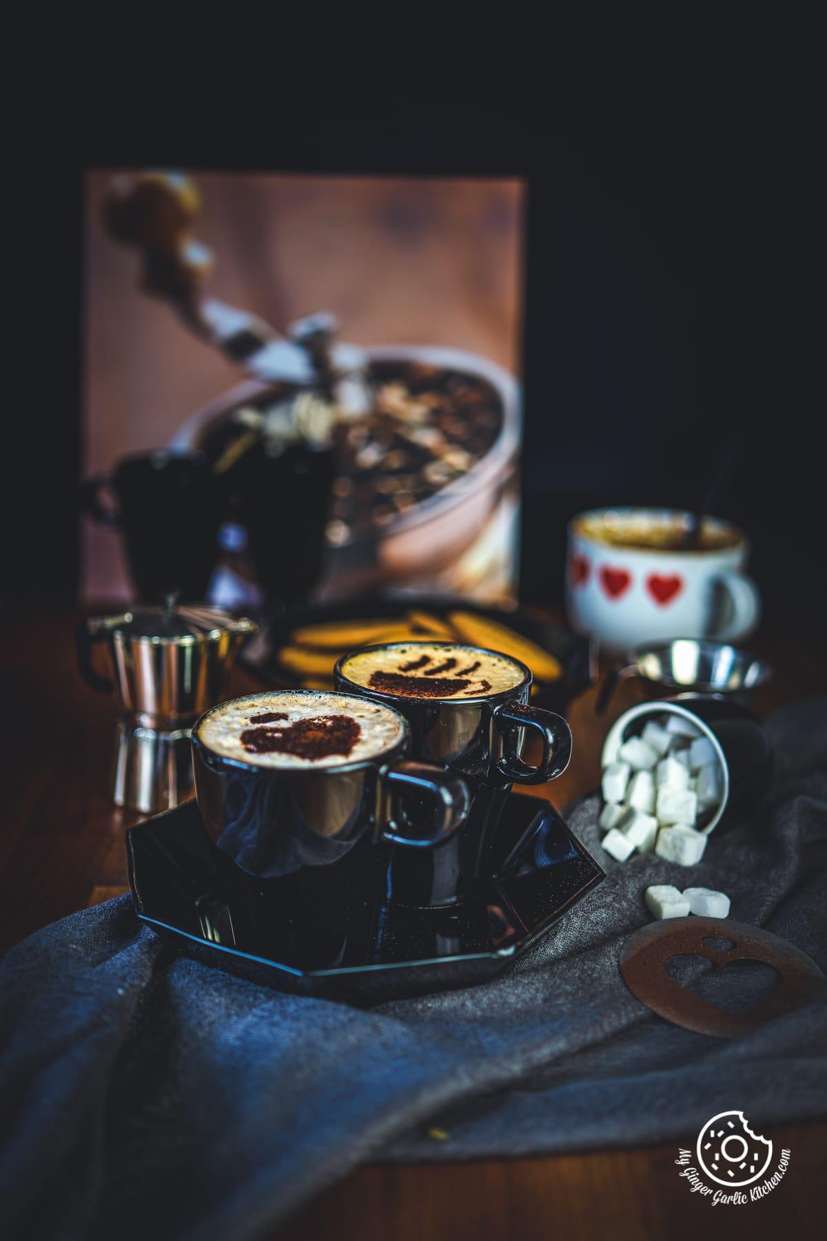 beaten coffee in black cups