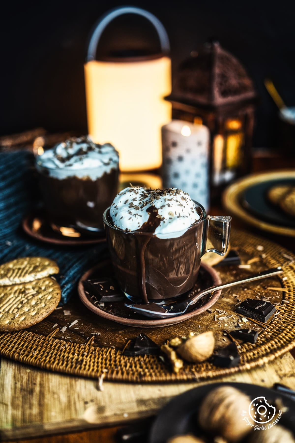 hot chocolate in a transparent cup
