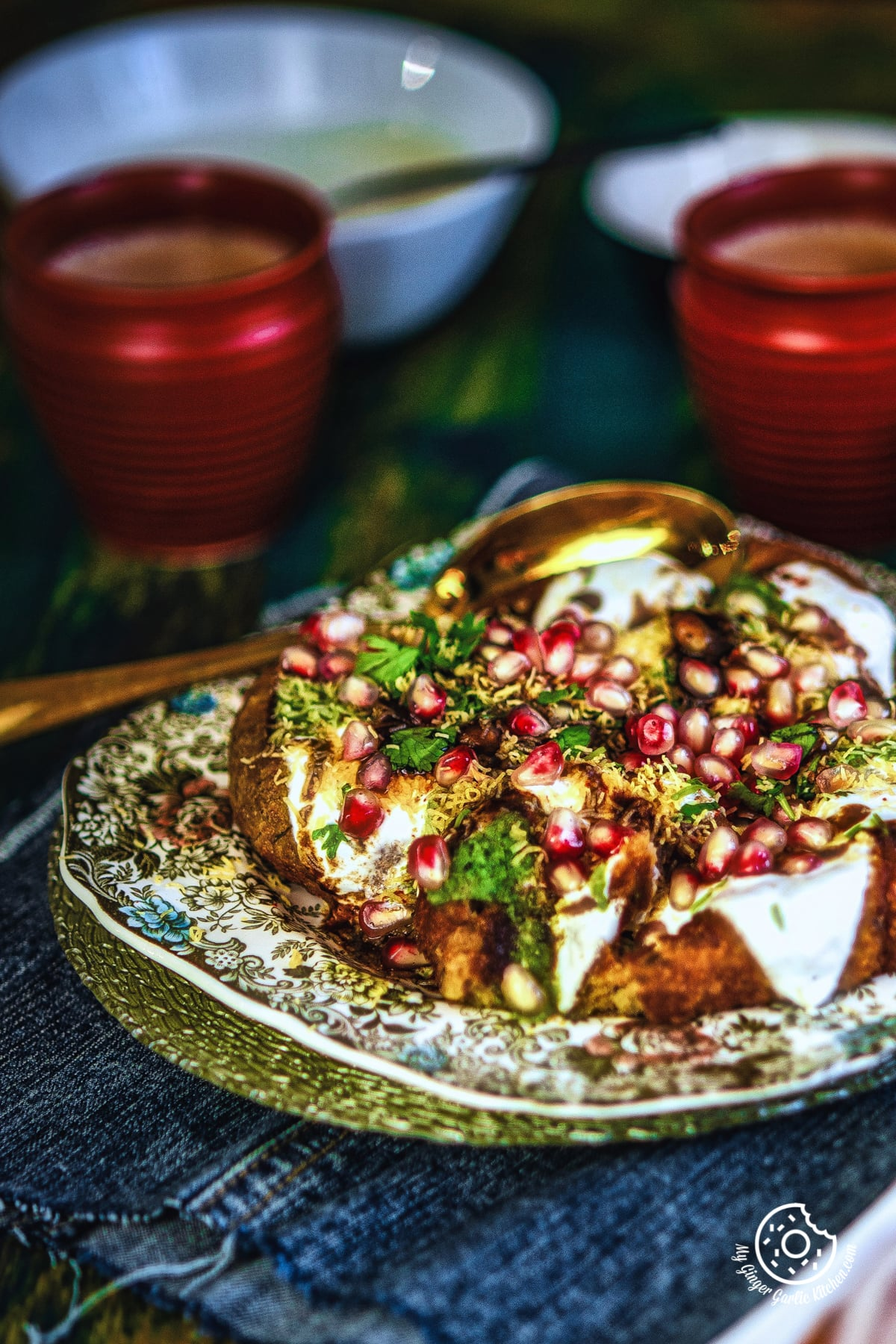 aloo tikki chaat served in floral plate