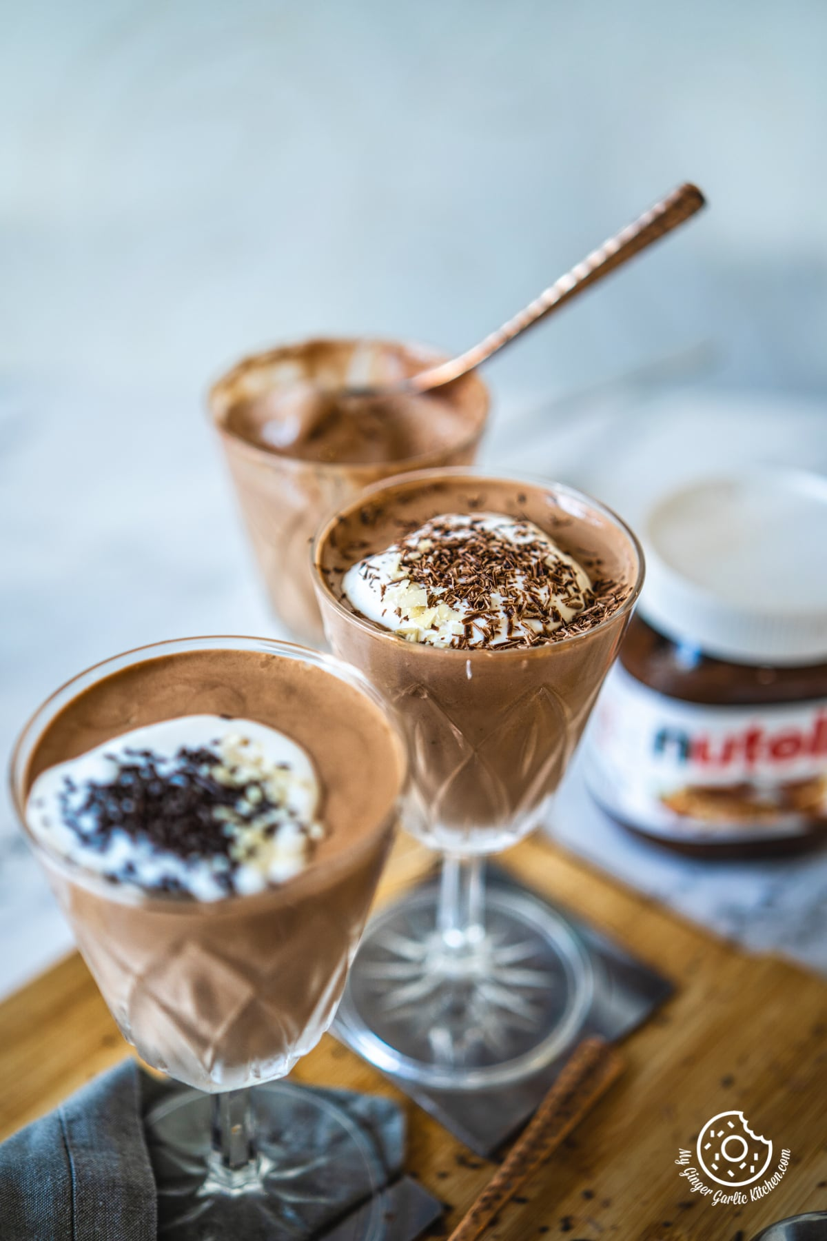 3 nutella coffee mousse glasses