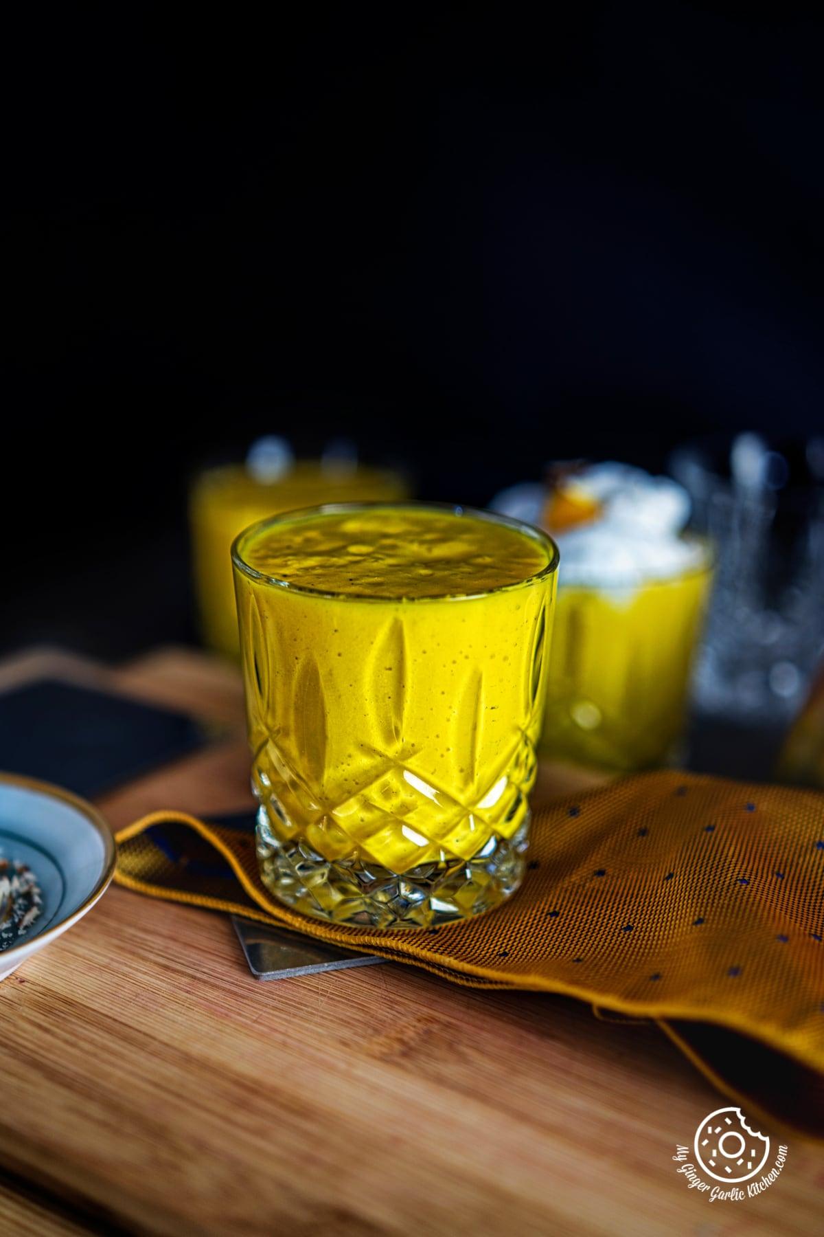 mango milkshake in a glass