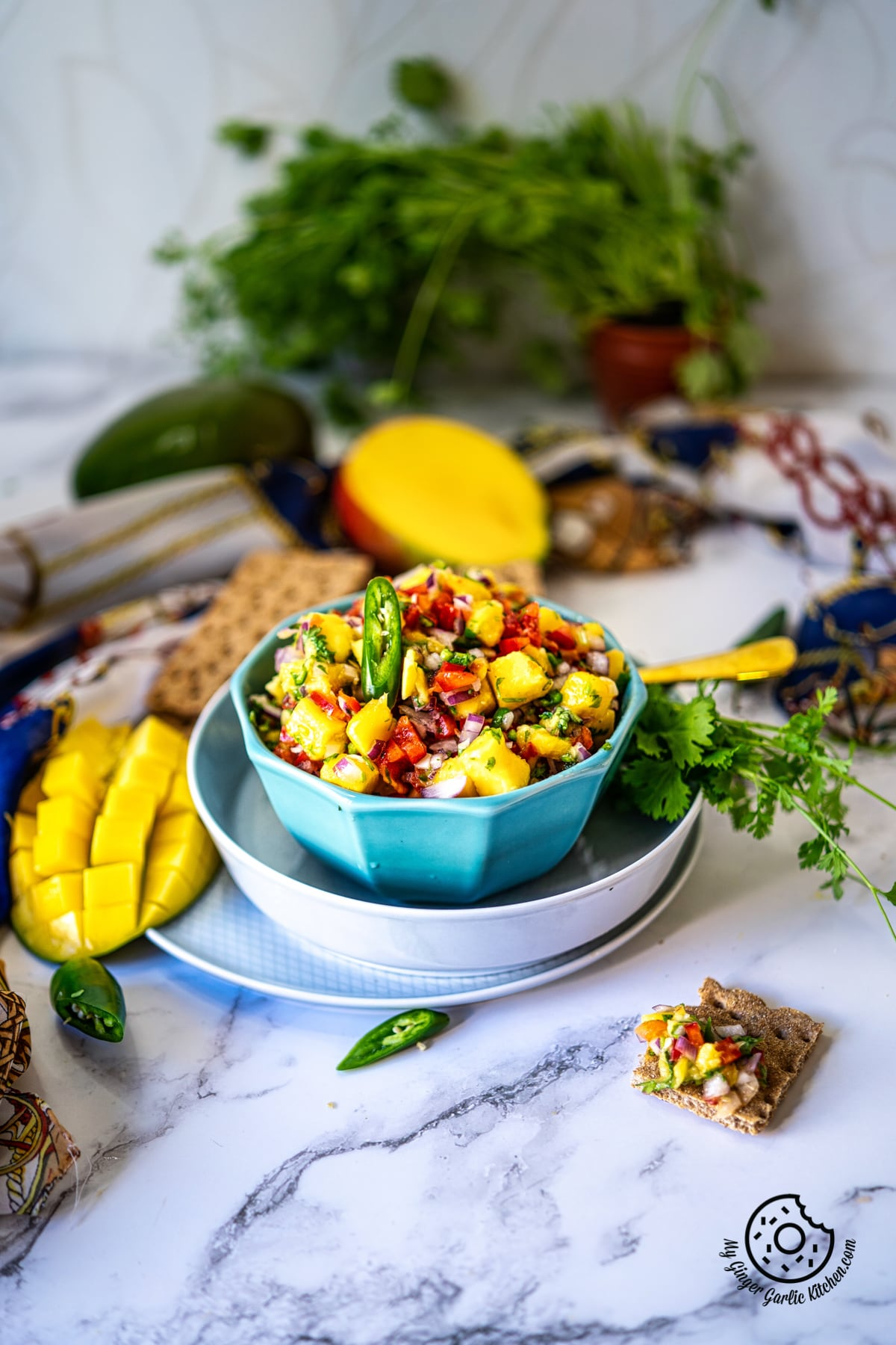 mango salsa in a light blue color bowl and a couple of manago slices on the side