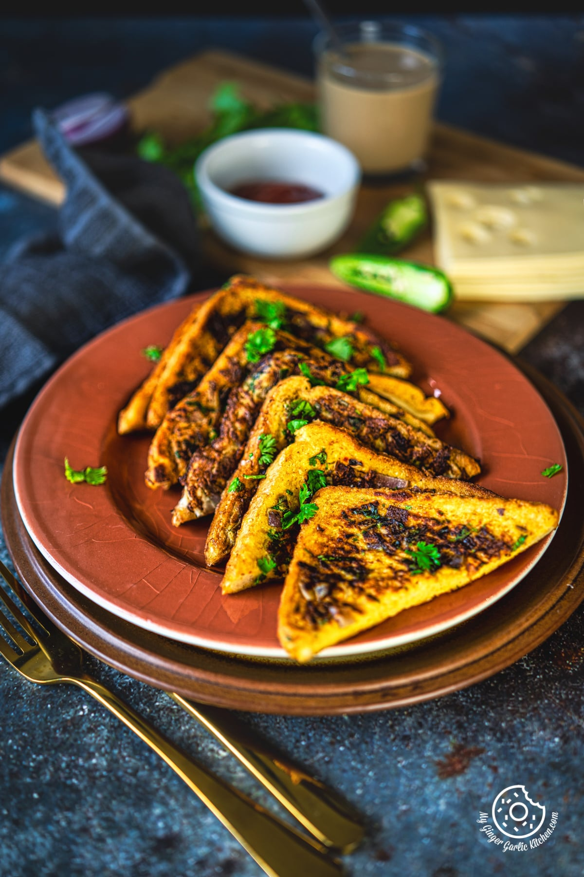 masala french toast in a brown plate